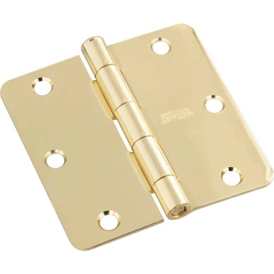 National 3-1/2 In. x 1/4 In. Radius Polished Brass Door Hinge
