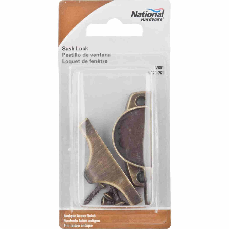 National Antique Brass Finished Die-Cast Zinc Crescent Sash Lock Image 2