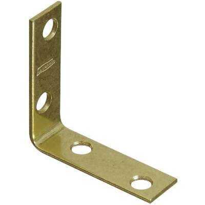 National Catalog V115 2 In. x 5/8 In. Brass Steel Corner Brace (4-Count)
