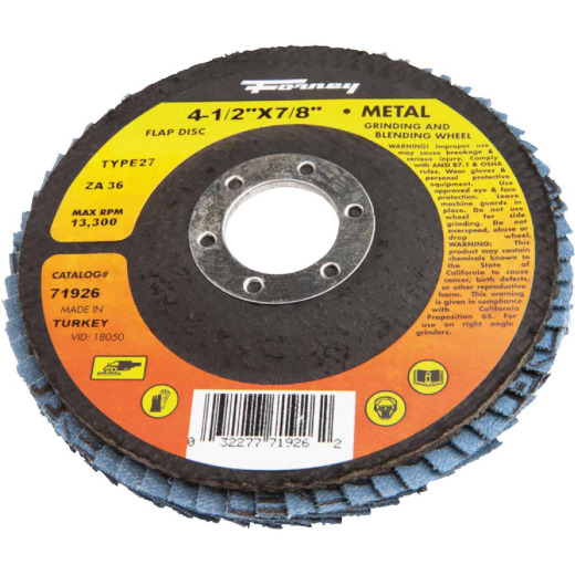 Forney 4-1/2 In. x 7/8 In. 36-Grit Type 27 Blue Zirconia Angle Grinder Flap Disc