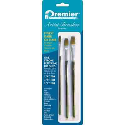 Premier Assorted Dark Ox Hair Artist Brushes (3 Pieces)